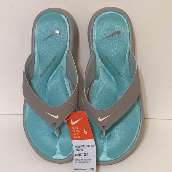 5caa0ffdb31 Nike Women s Ultra Comfort Thong Aqua Blue New 6